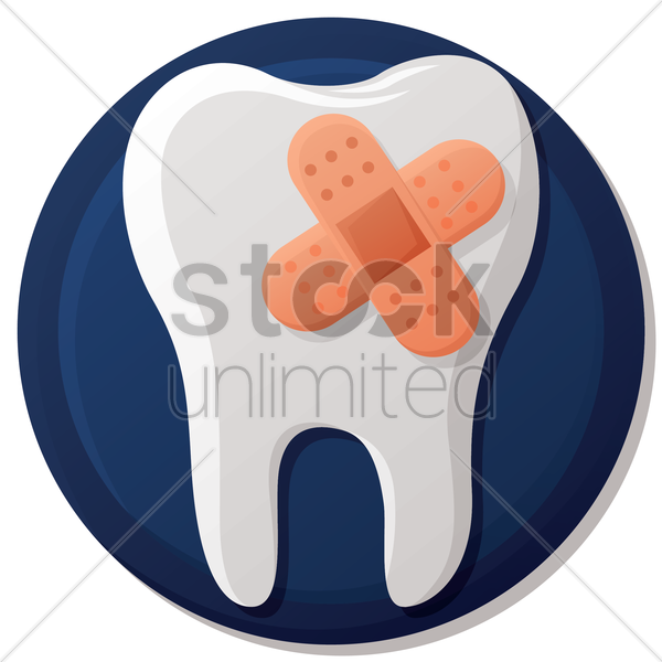 tooth with bandage vector graphic