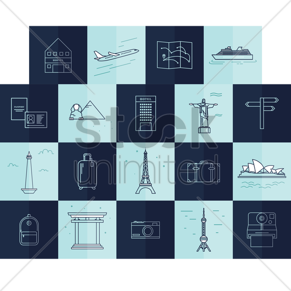 travelling icons vector graphic
