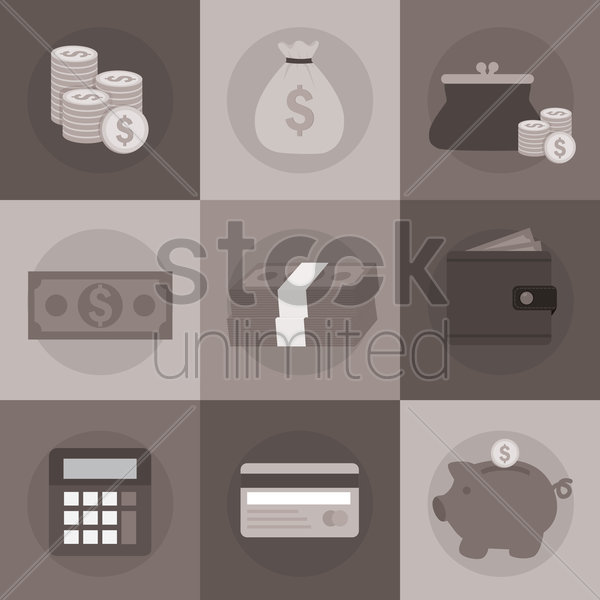 Free various financial icons vector graphic