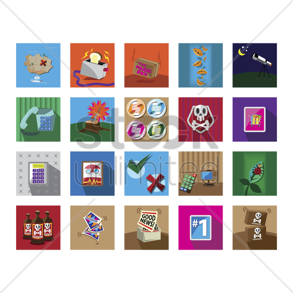 various miscellaneous icons vector graphic