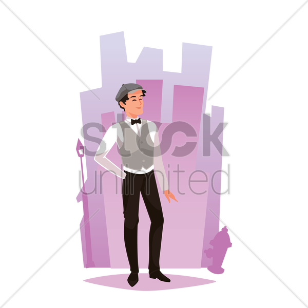 waiter standing on street vector graphic