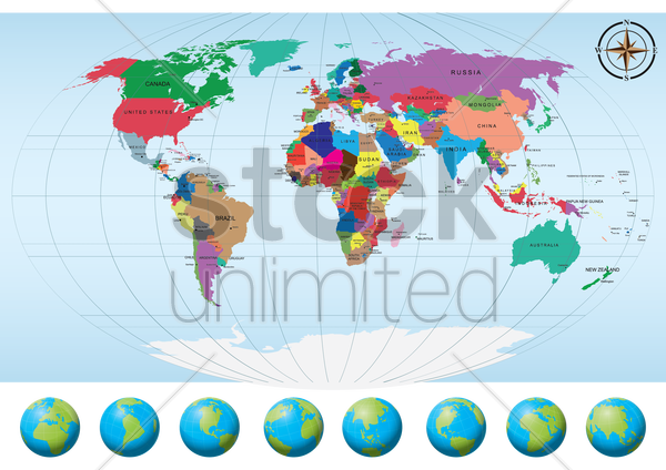 world map with globes vector graphic