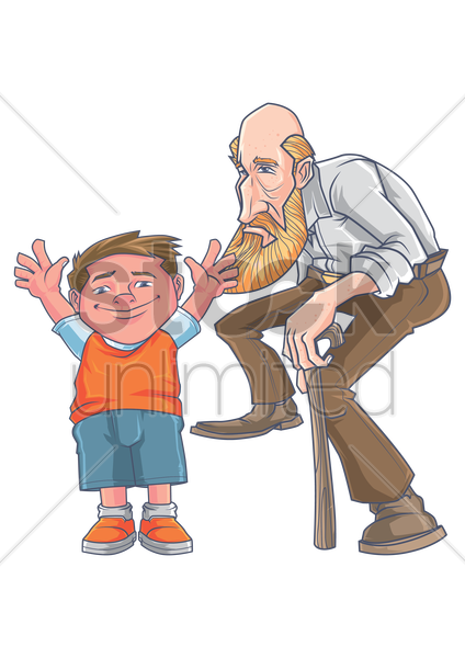 Young And Old Cartoon Young boy with an old ...