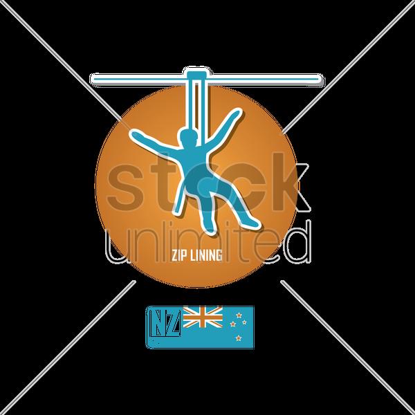 Zip Lining In New Zealand Vector Image 2023372 Stockunlimited