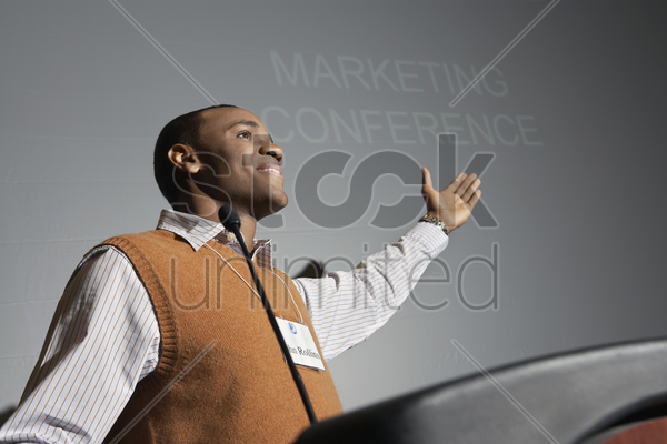 business man presenting conference meeting stock photo