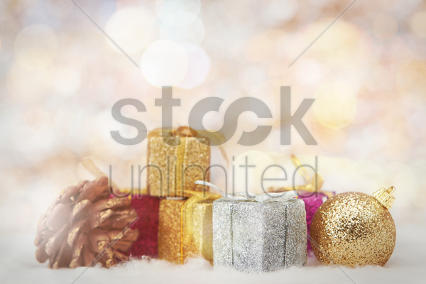 christmas theme decoration with copy space stock photo