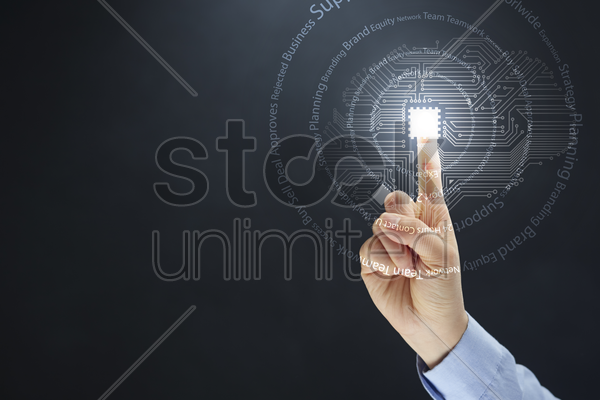finger pointing on a digital technology concept stock photo