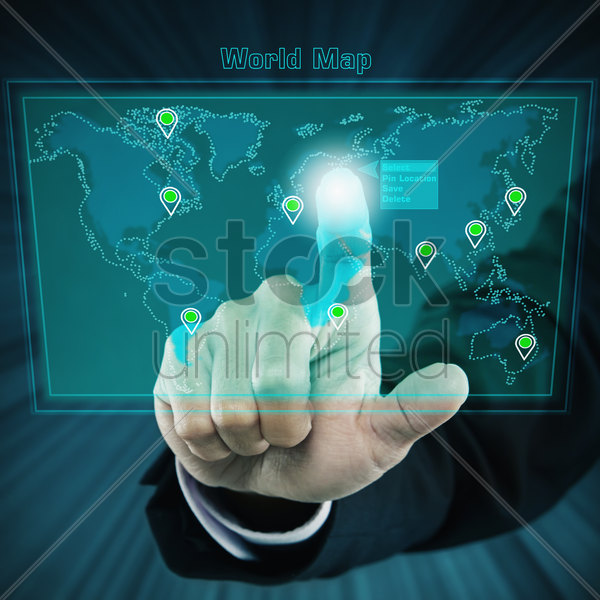 graphic of a digital world map stock photo