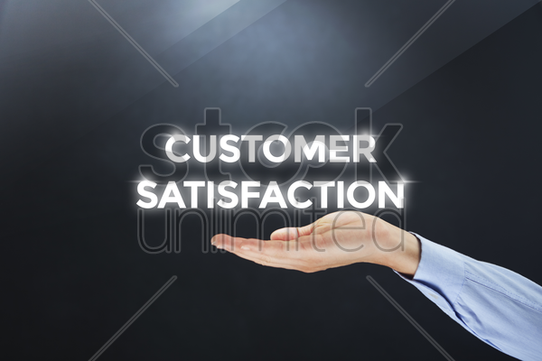 hand showing digital text customer satisfaction stock photo