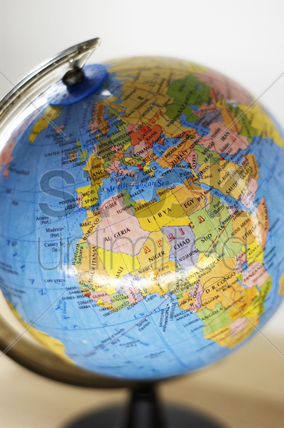 portrait of a globe on the table stock photo