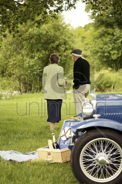 senior couple picnicking in the park stock photo