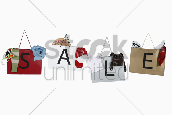 shopping bags with the word sale stock photo