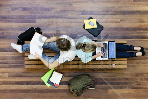 university students studying from above stock photo