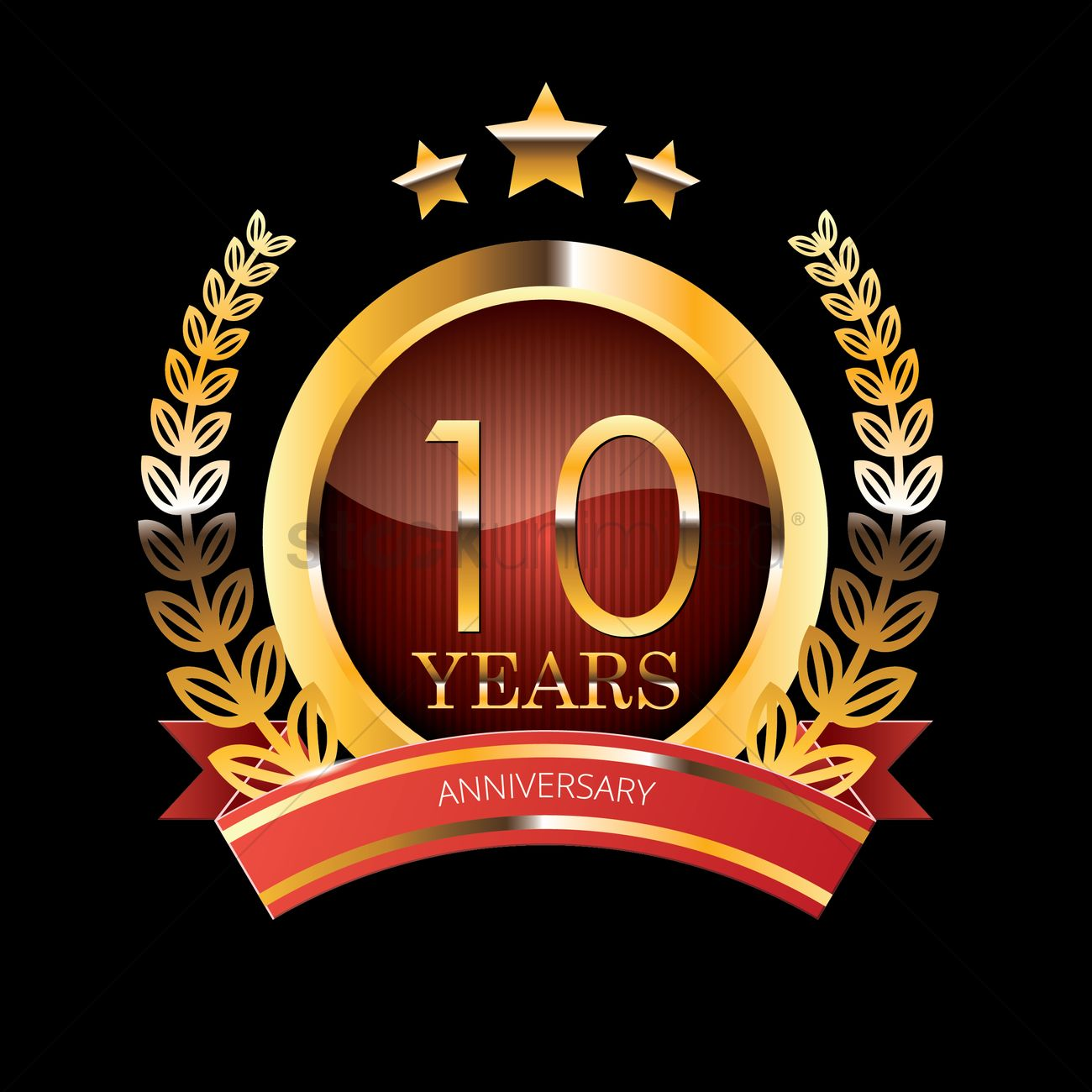 10 Years Anniversary Label With Ribbon Vector Image 1400780