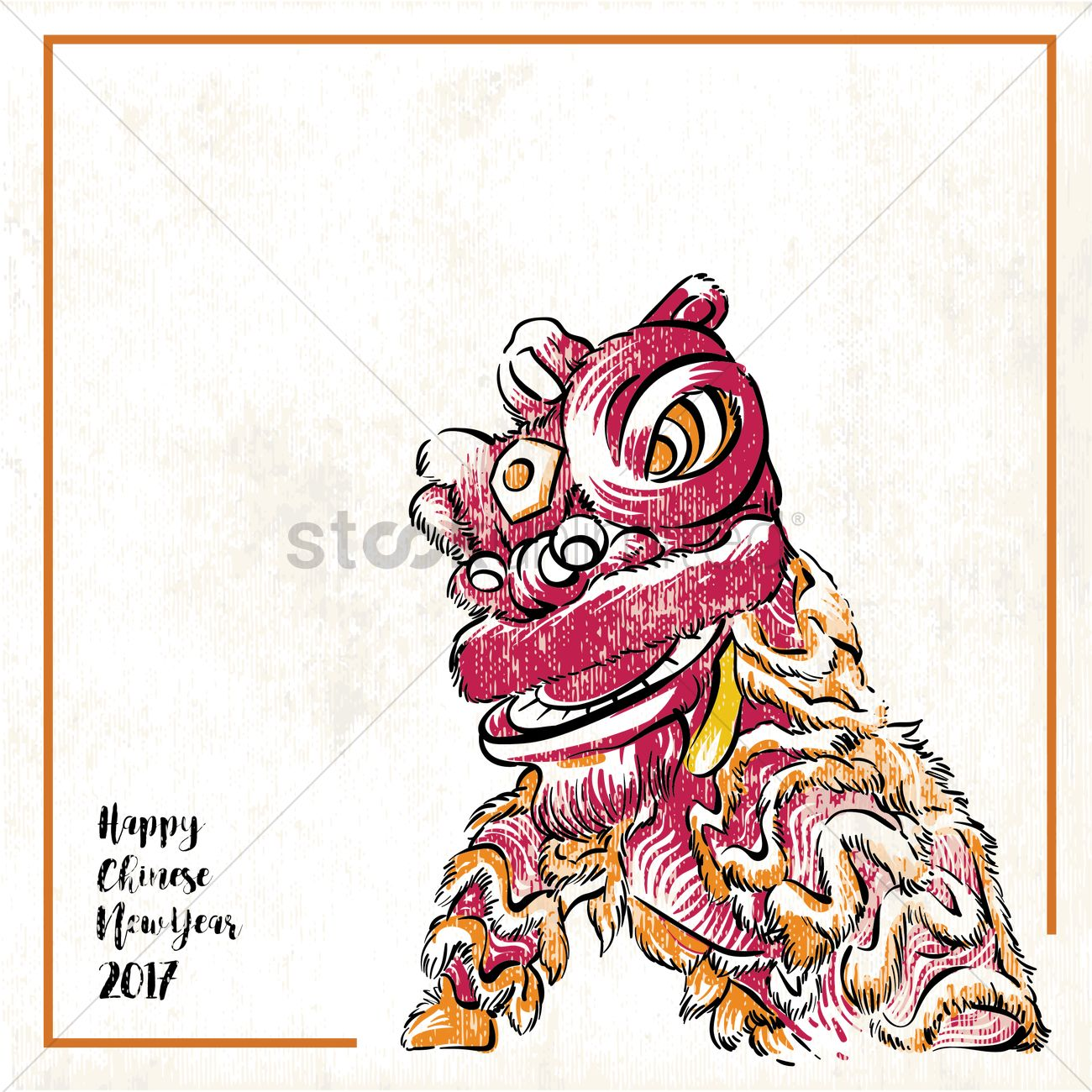 2017 Chinese New Year Greeting With Lion Dance Vector Image