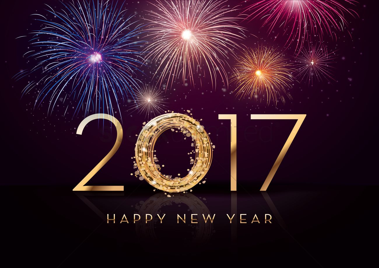 2017 happy new year greeting vector graphic