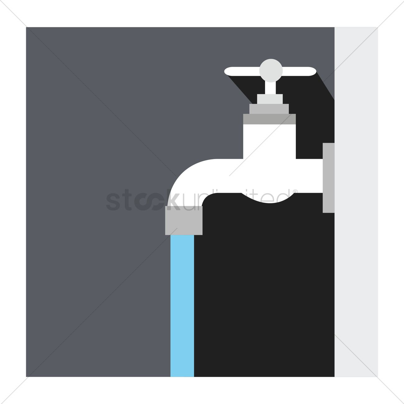 A Tap With Running Water Vector Image 1246648 Stockunlimited
