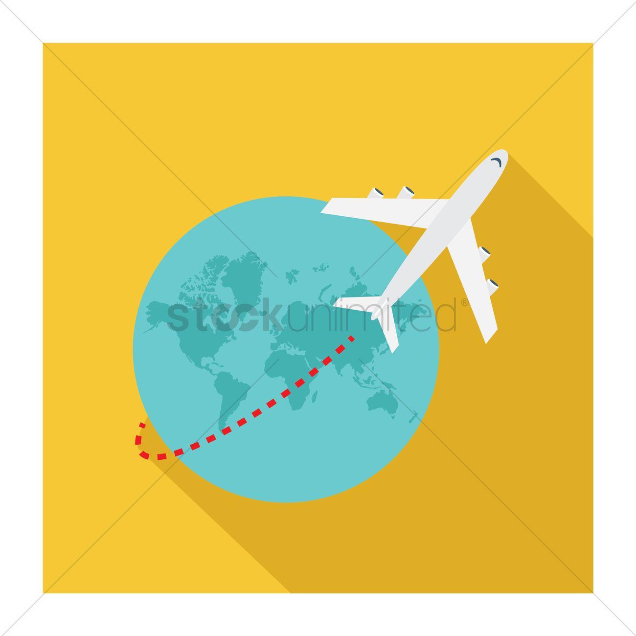 Aeroplane Traveling Around The Globe Vector Graphic