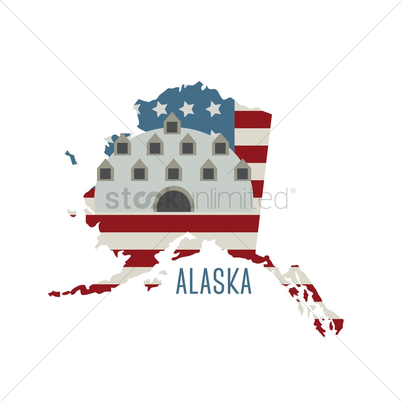 Alaska State Map Abandoned Igloo City Hotel Vector Graphic