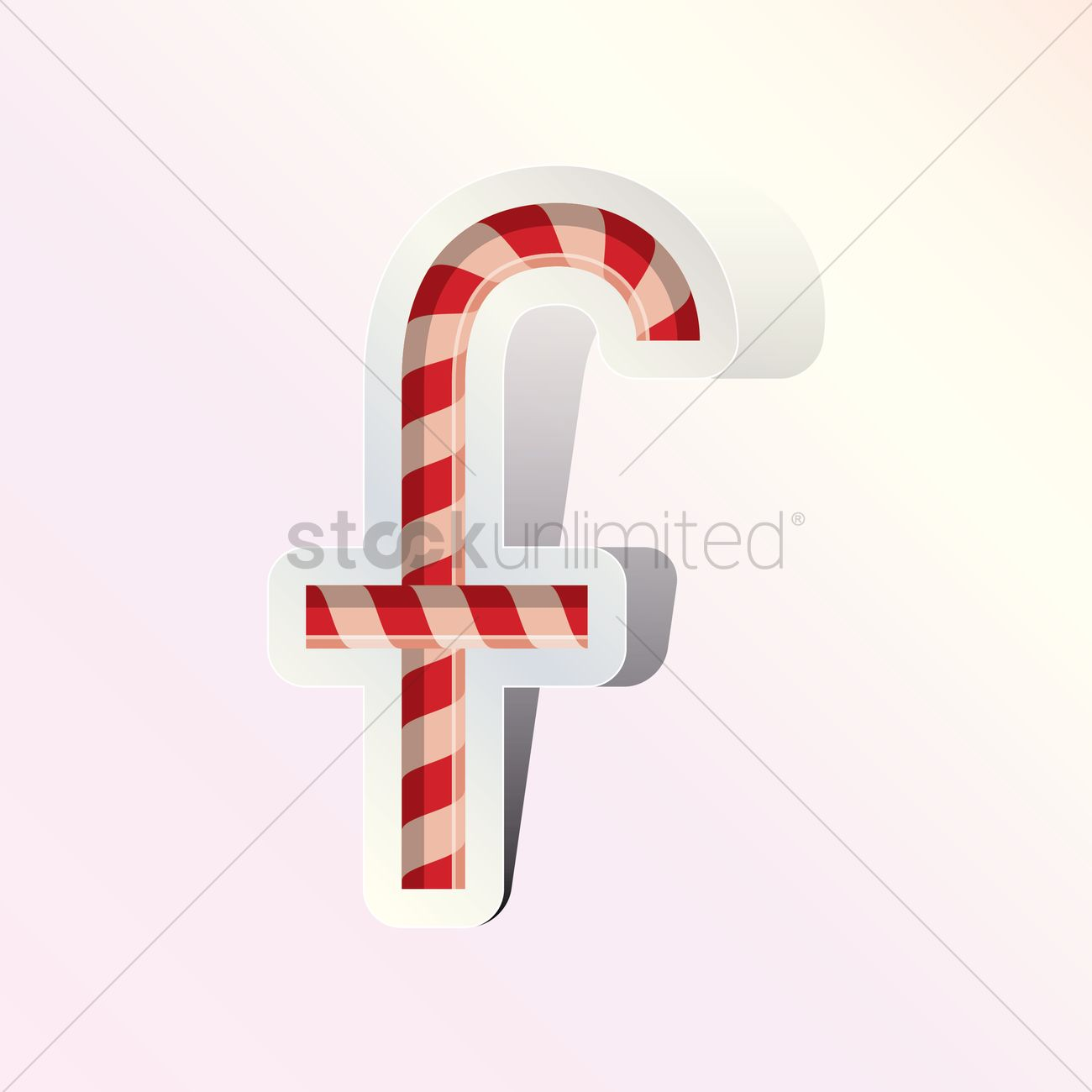 Alphabet Small Letter F In Candy Cane Design Vector Graphic