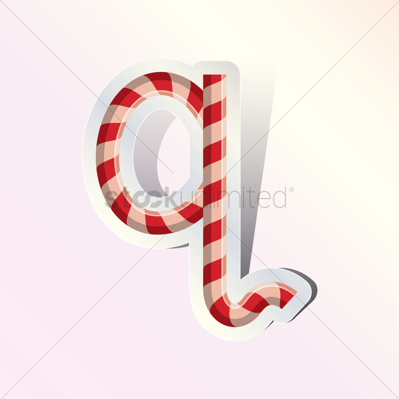 Alphabet Small Letter Q In Candy Cane Design Vector Graphic