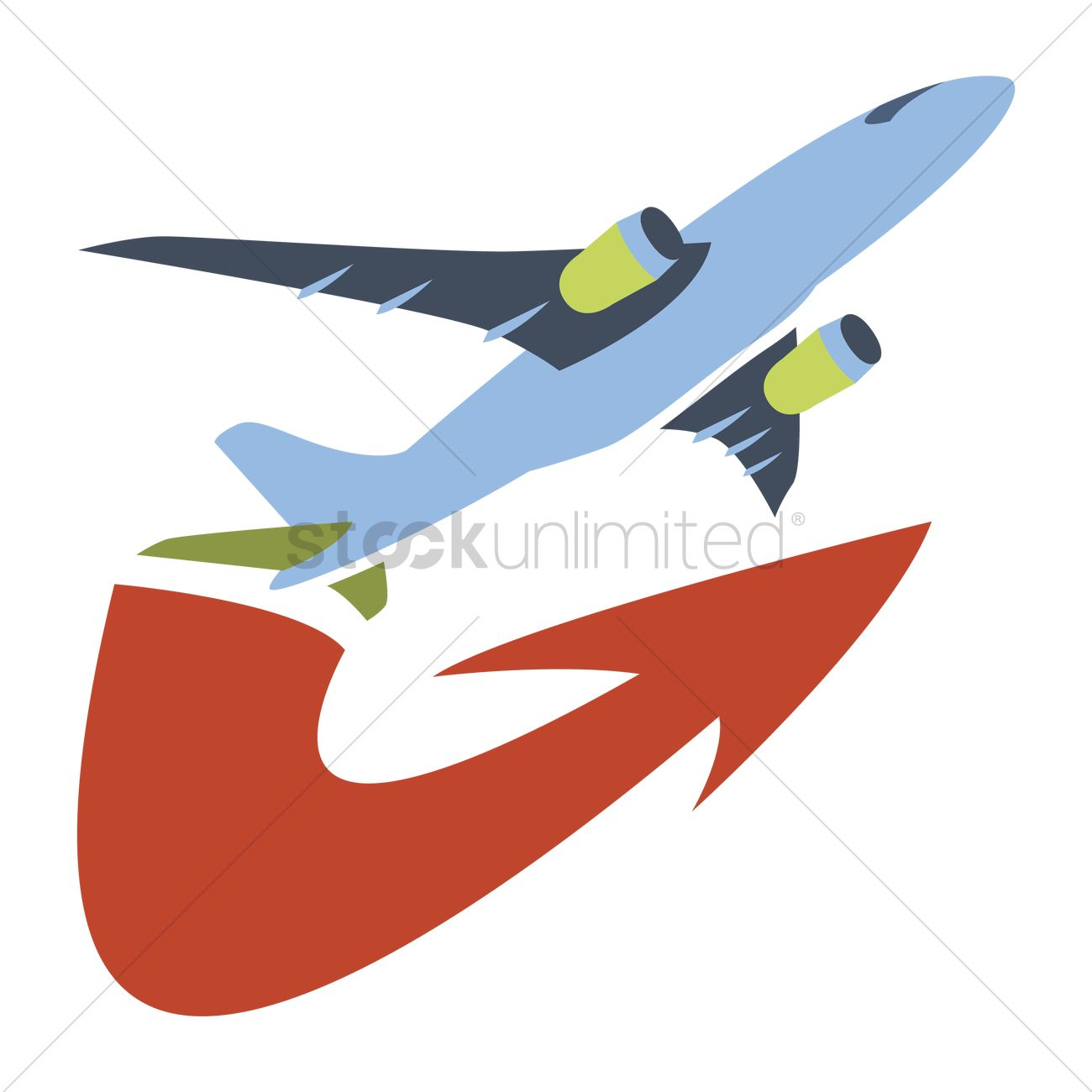 free an airplane flying with an arrow below vector image 1243972