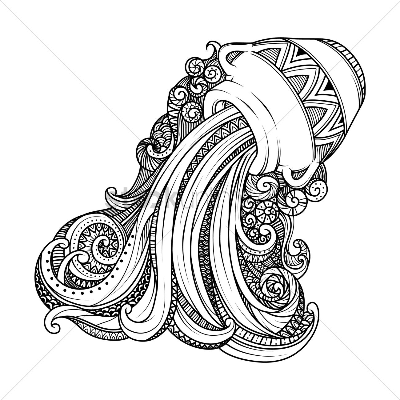 aquarius zodiac intricate design vector image 1987896 stockunlimited