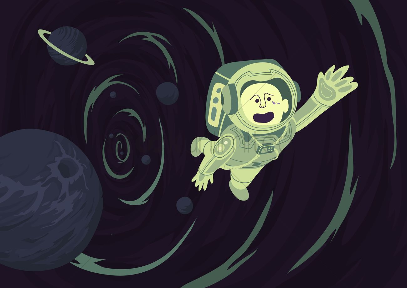 Free Astronaut being sucked into a blackhole Vector Image ...
