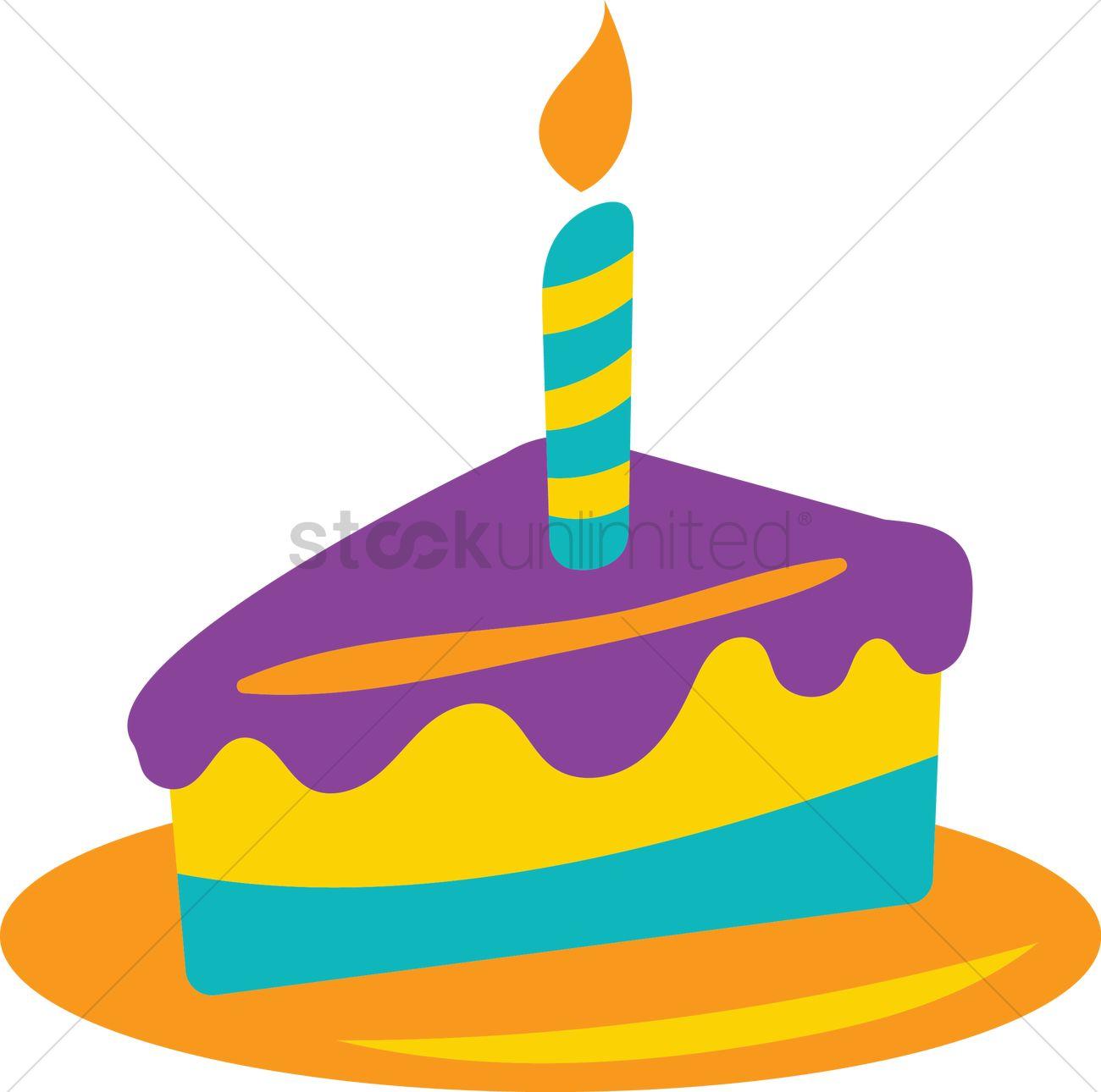 Birthday Cake Slice Vector Graphic