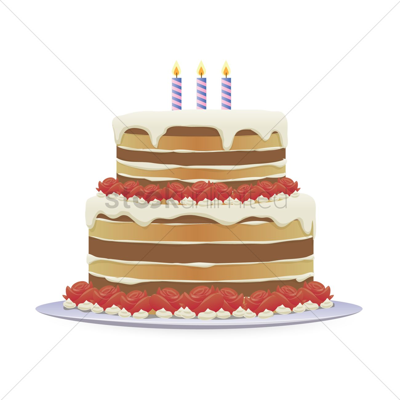 Birthday Cake With Three Burning Candles Vector Image 1492096