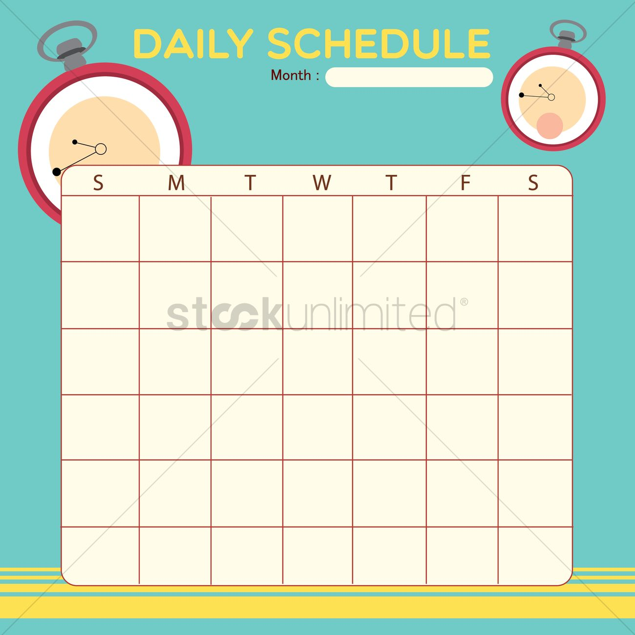 Blank Daily Planner Template Design Vector Image 1479880