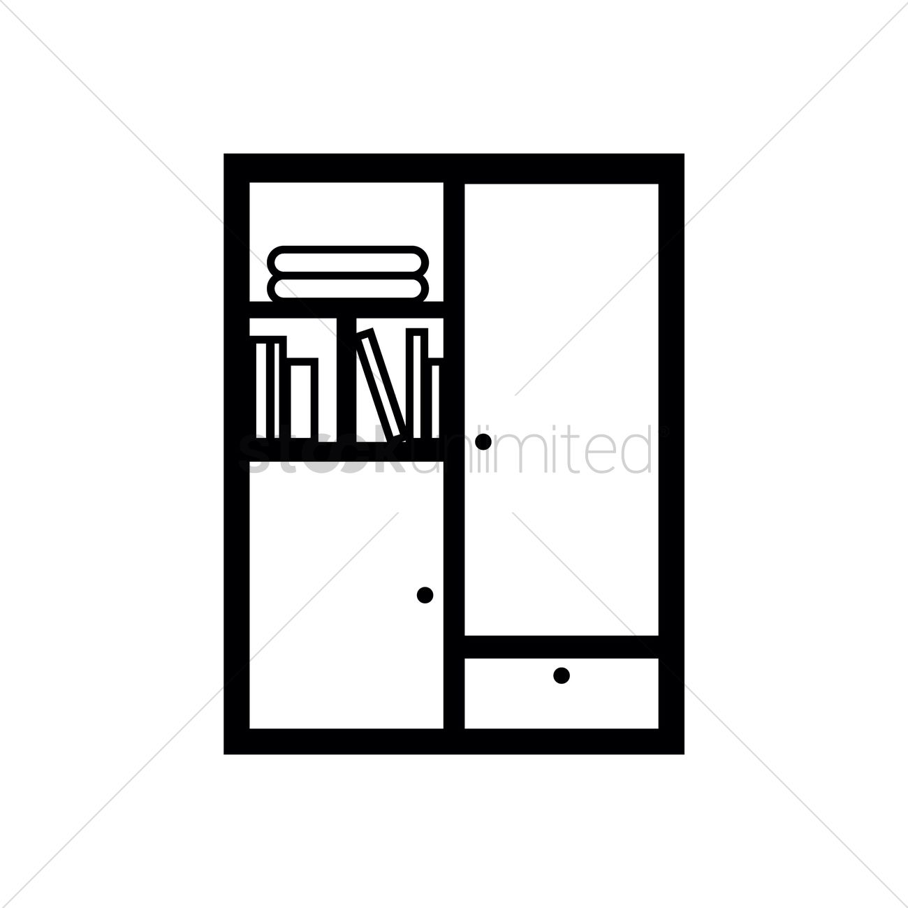 Books In Cupboard Vector Graphic