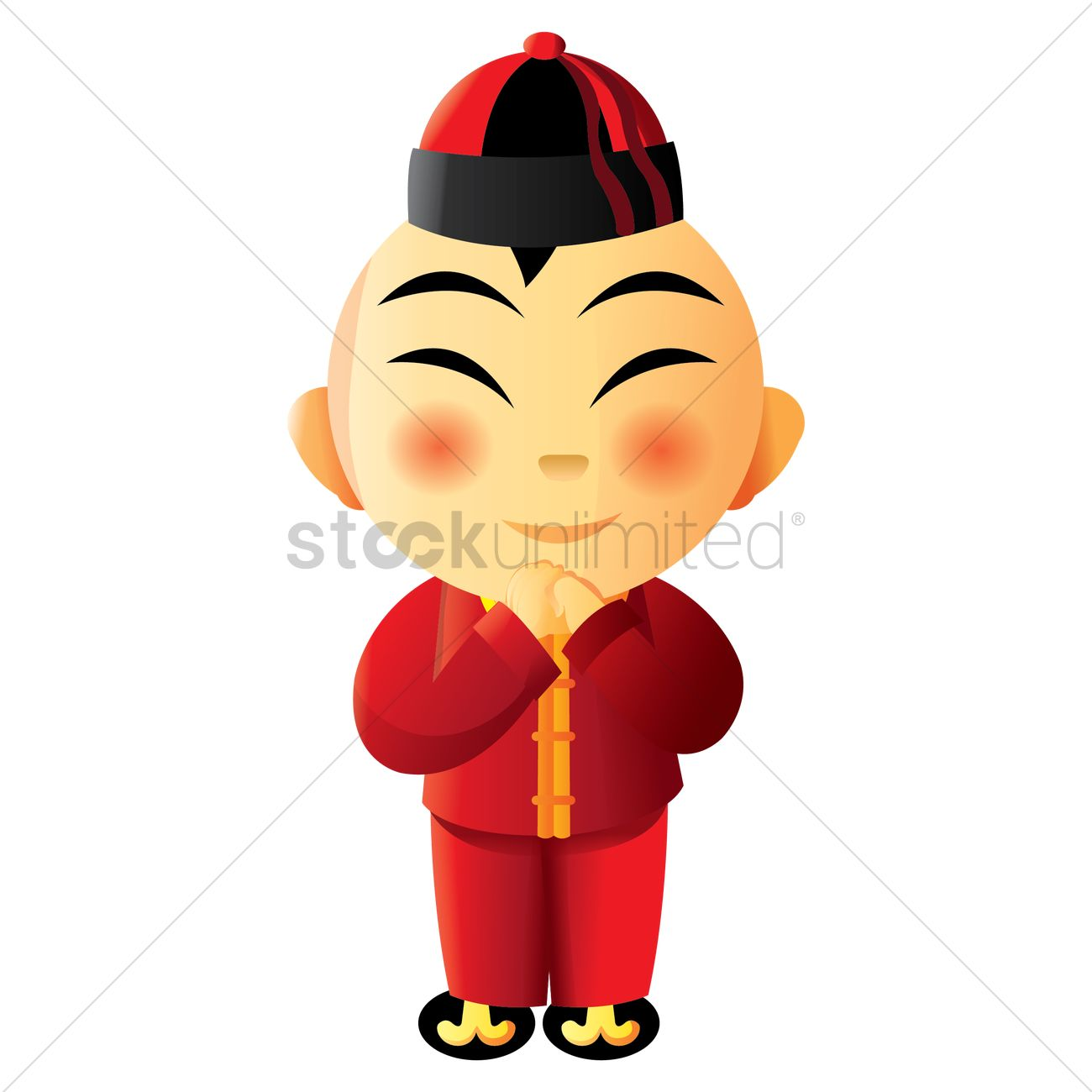Boy Greeting In Chinese New Year Clothes Vector Image 1403052