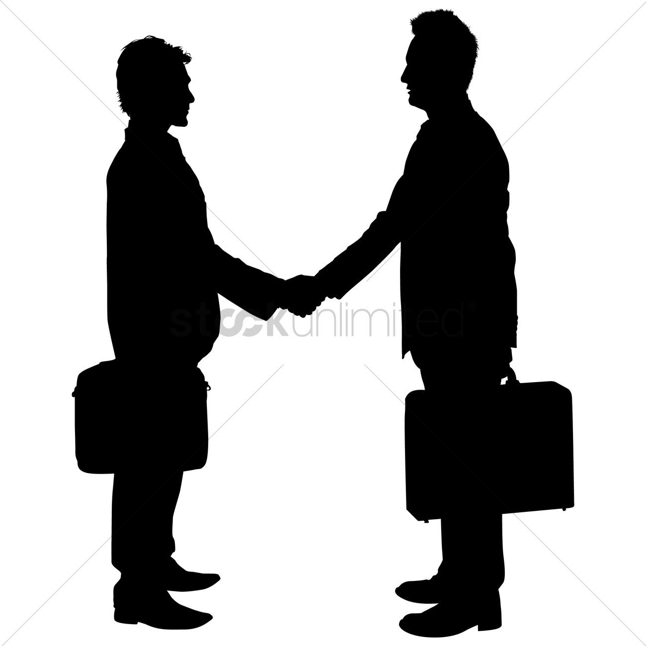 businessman shaking hands silhouette vector image