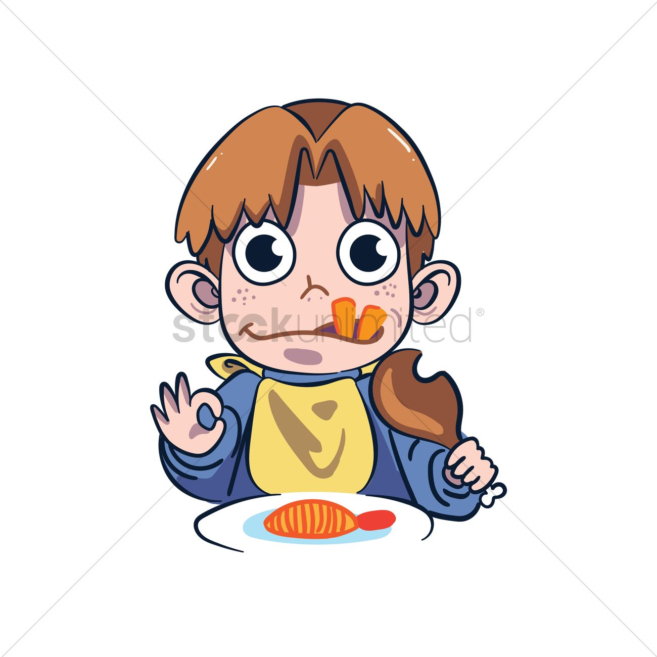 Cartoon Character Eating Vector Image 1957480 Stockunlimited
