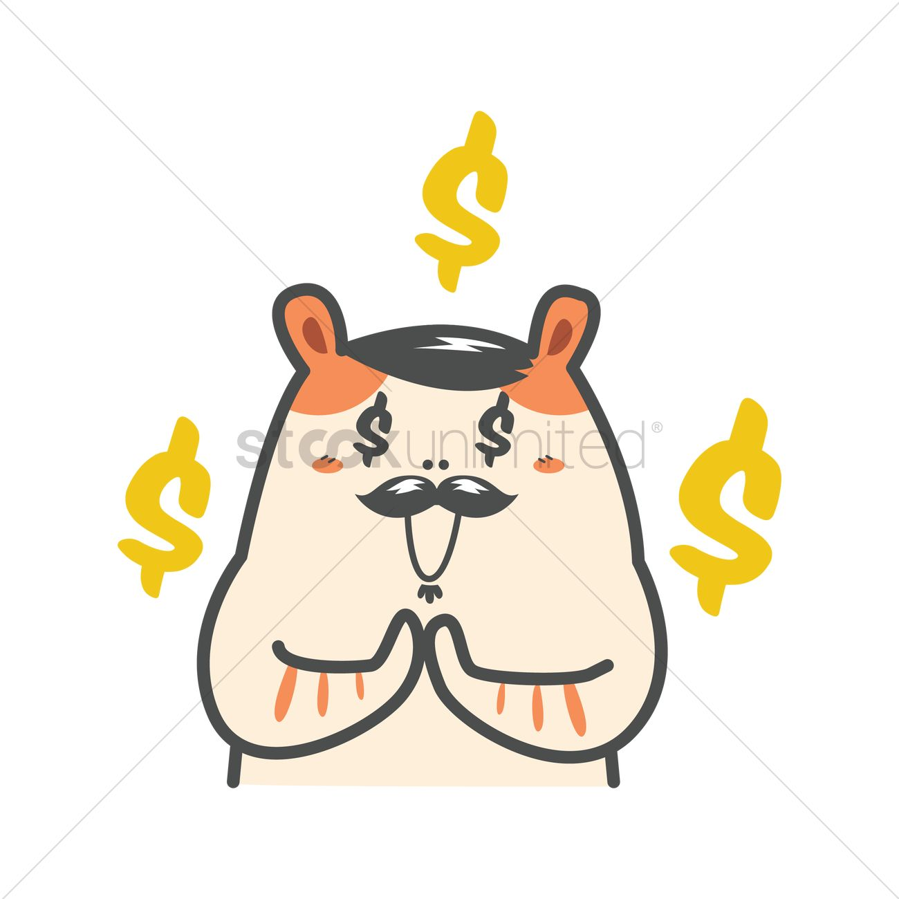 cartoon hamster thinking about money vector image 1954740