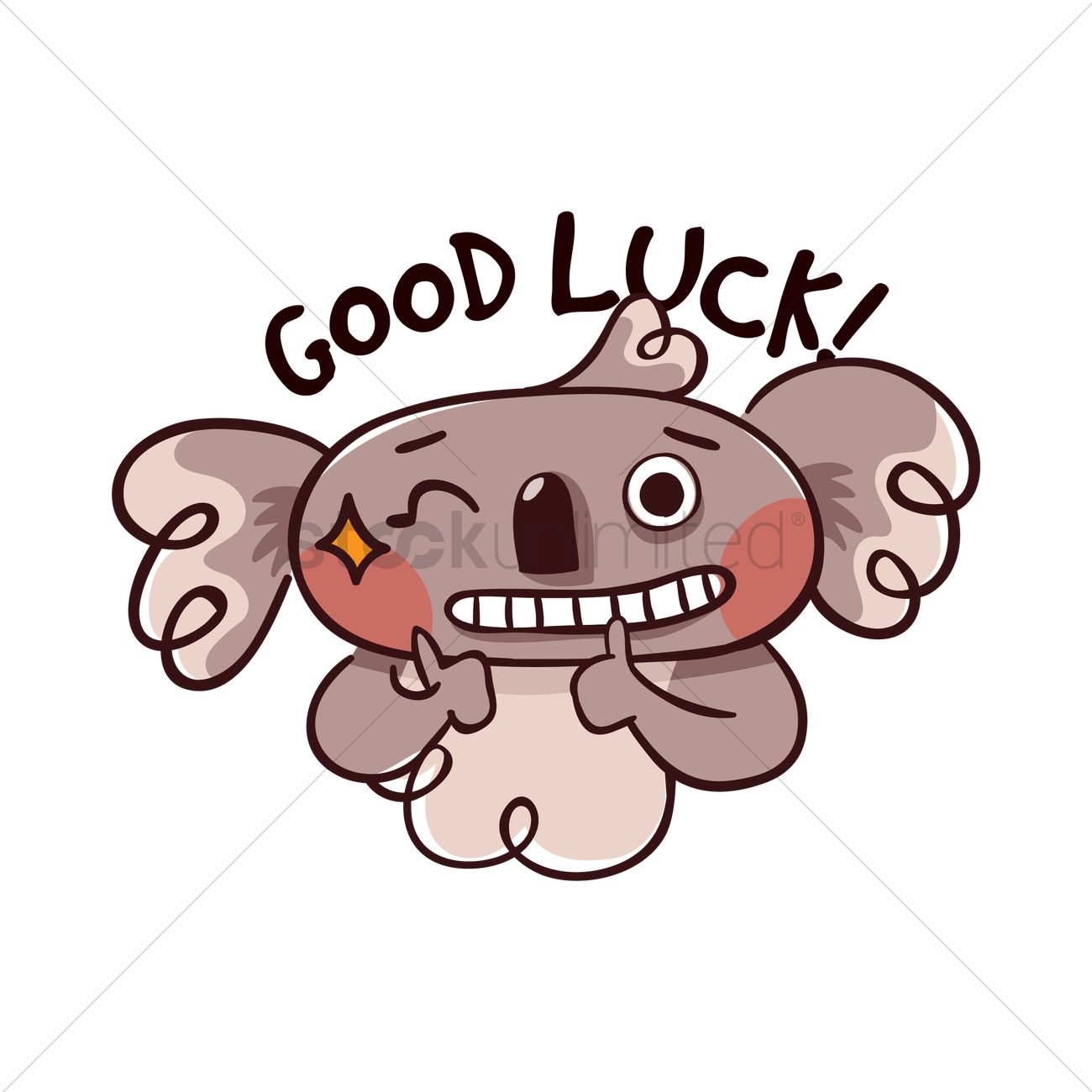 Cartoon Koala Bear Wishing Good Luck Vector Image