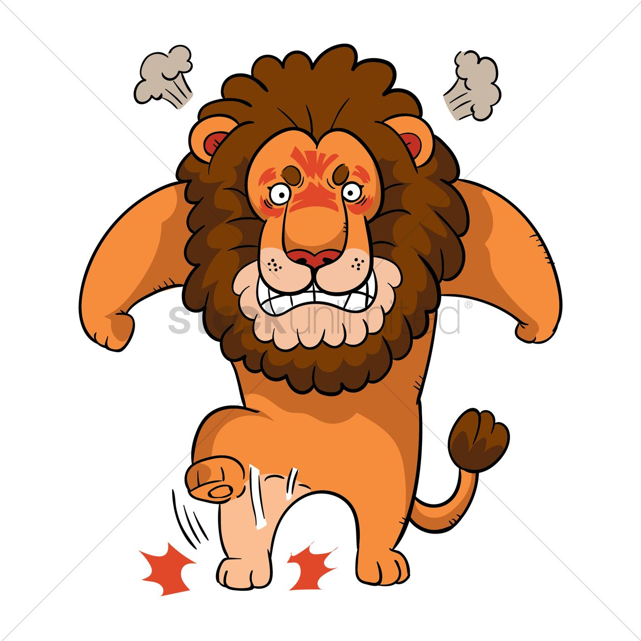 cartoon lion feeling angry vector graphic