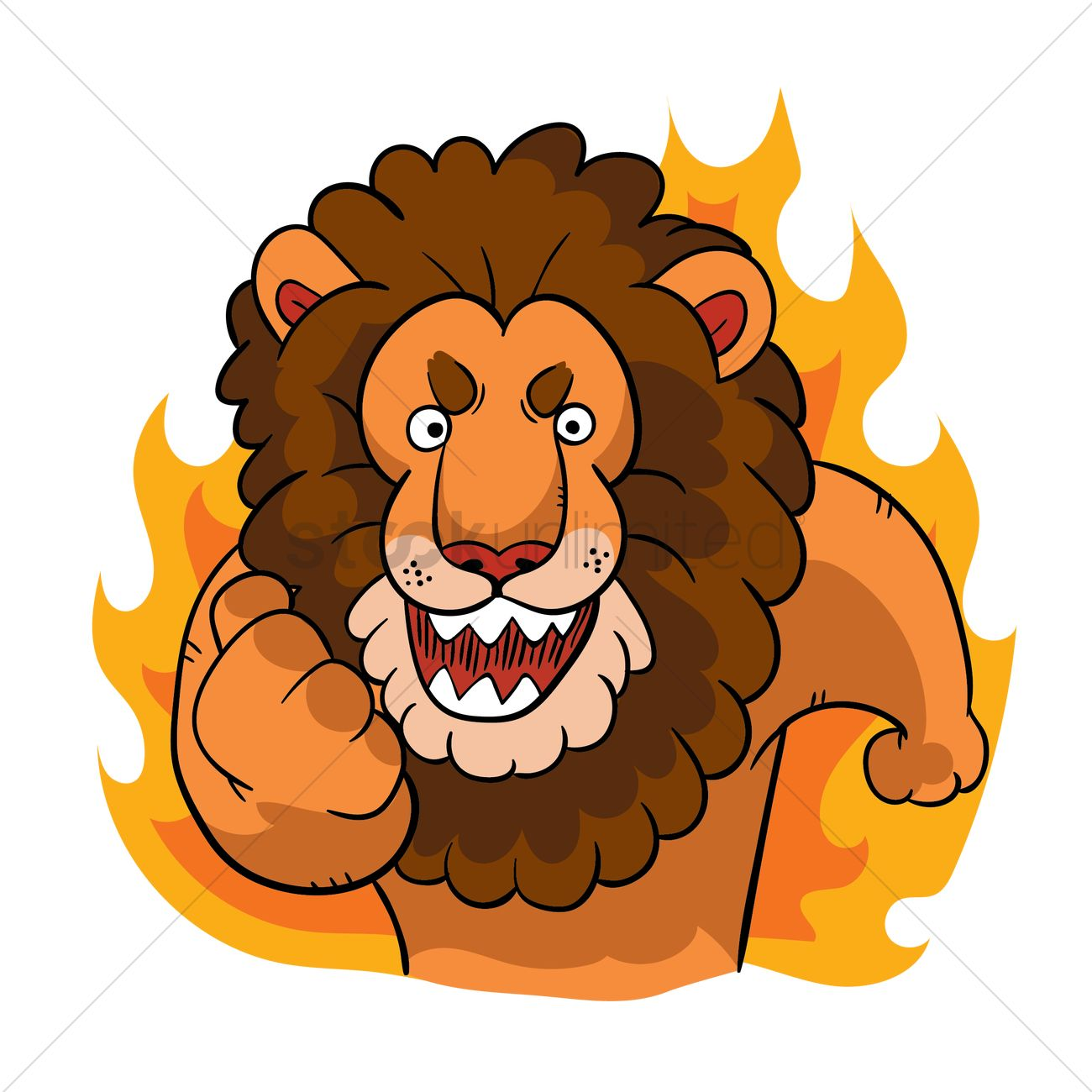 cartoon lion feeling determined vector graphic