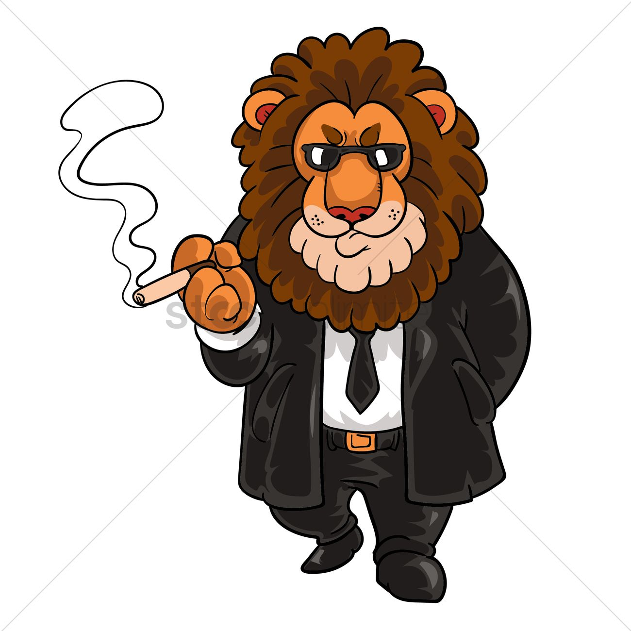 cartoon lion in suit smoking a cigar vector graphic