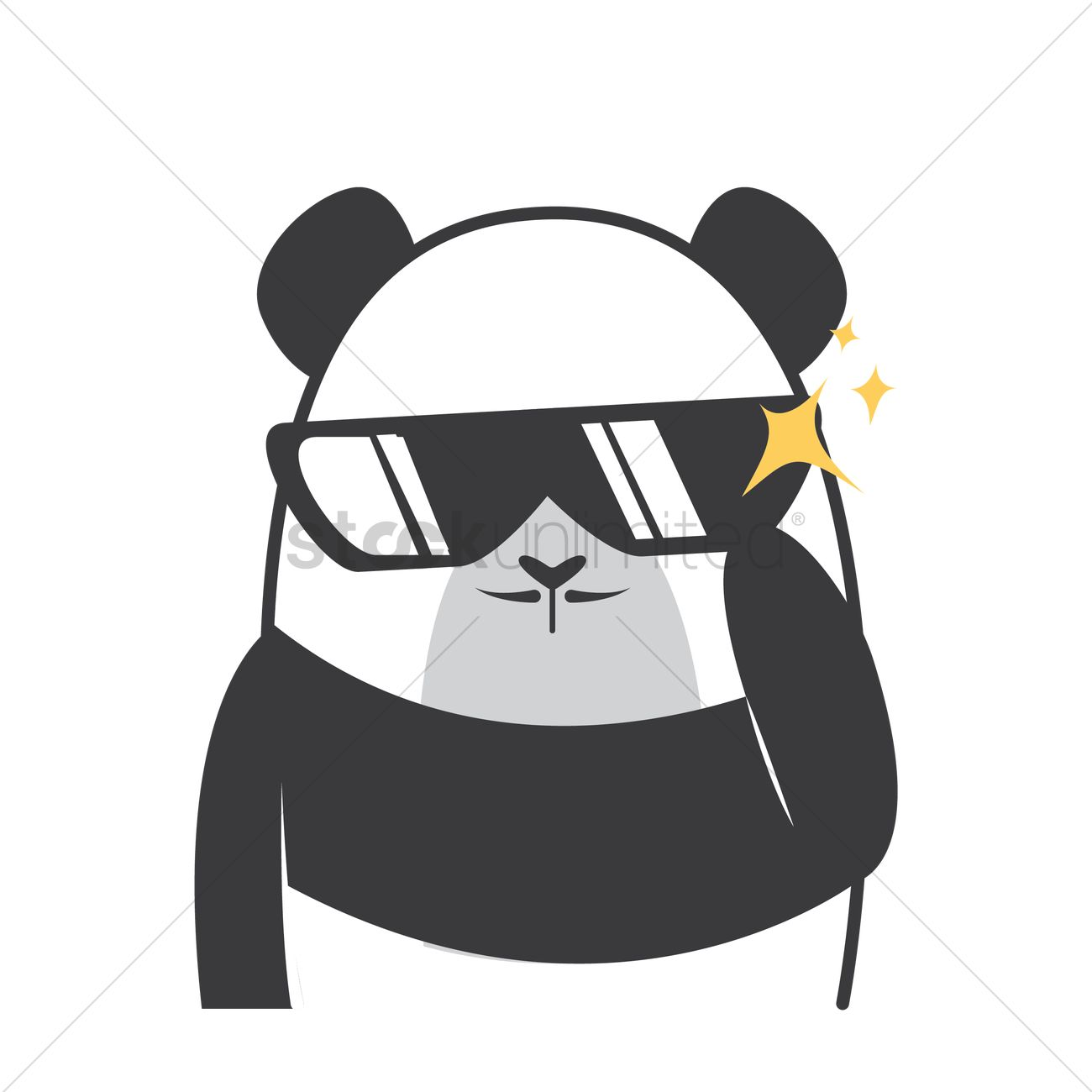 Cartoon Panda Feeling Cool Vector Image