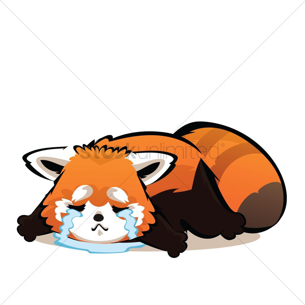Cartoon Characters Crying : Cartoon red panda crying vector image