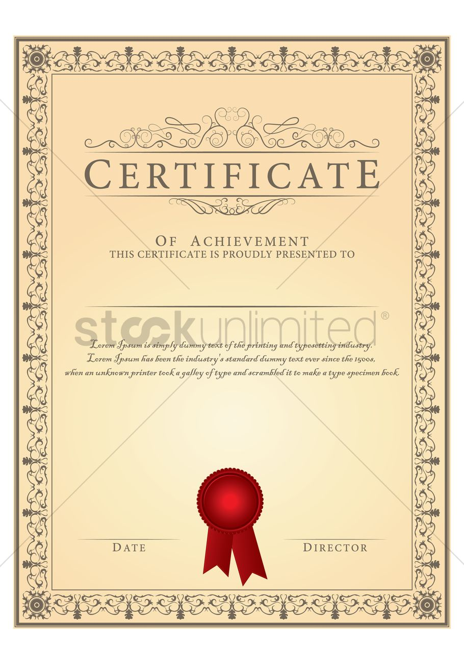 Certificate Template Vector Image 1515540 Stockunlimited