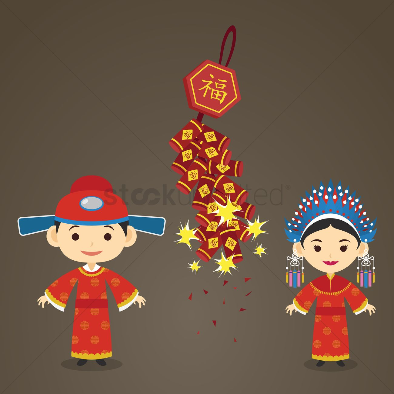 00d18316bdc73 Chinese bride and groom Vector Image - 1244212