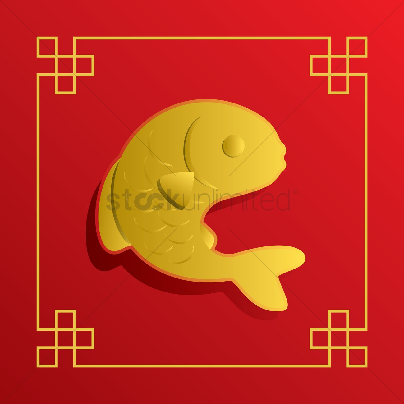 Chinese New Year Fish Greeting Card Design Vector Image 1407184