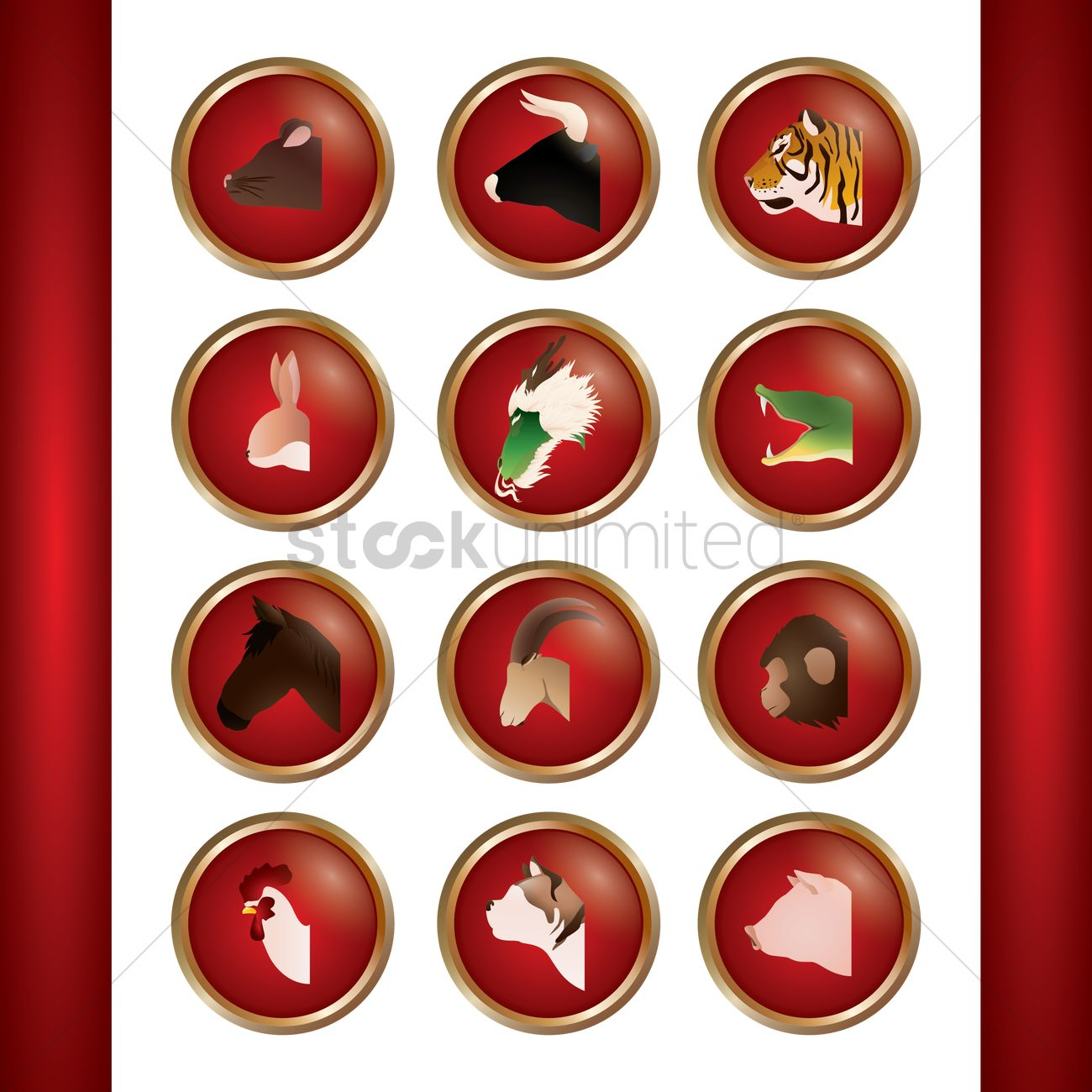Collection Of Chinese Zodiac Symbols Vector Image 1603184