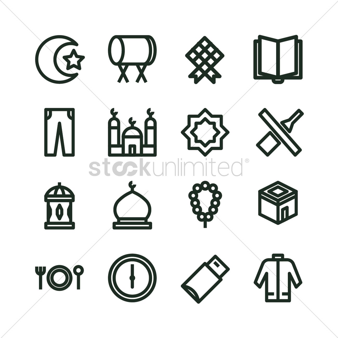 Collection of eid icons vector image 2024512 stockunlimited collection of eid icons vector graphic biocorpaavc Images