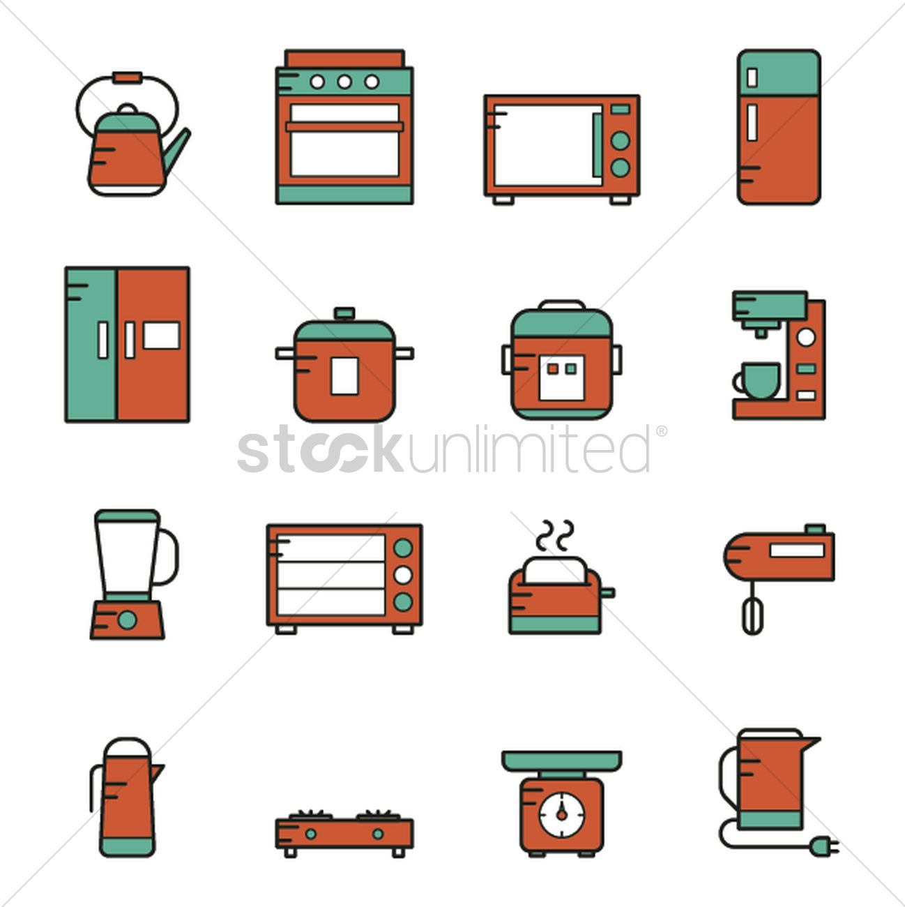 Collection Of Kitchen Appliances Vector Image 2034220