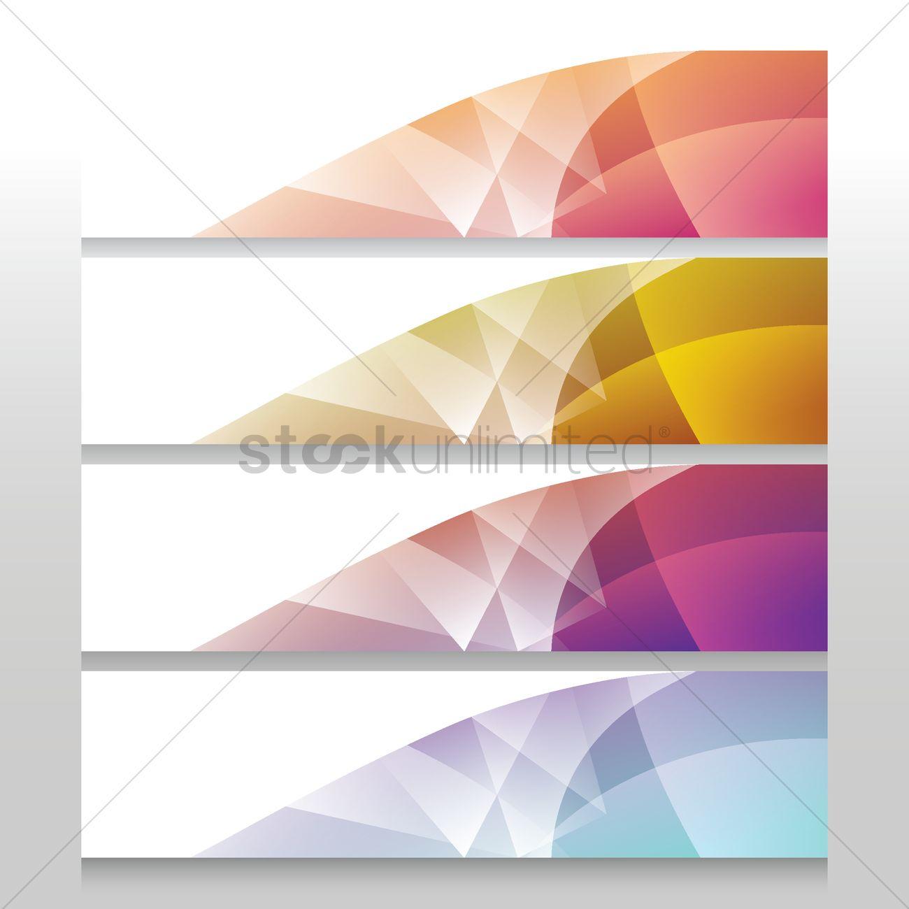 Vector Illustration Web Designs: Collection Of Modern Web Banner Designs Vector Image