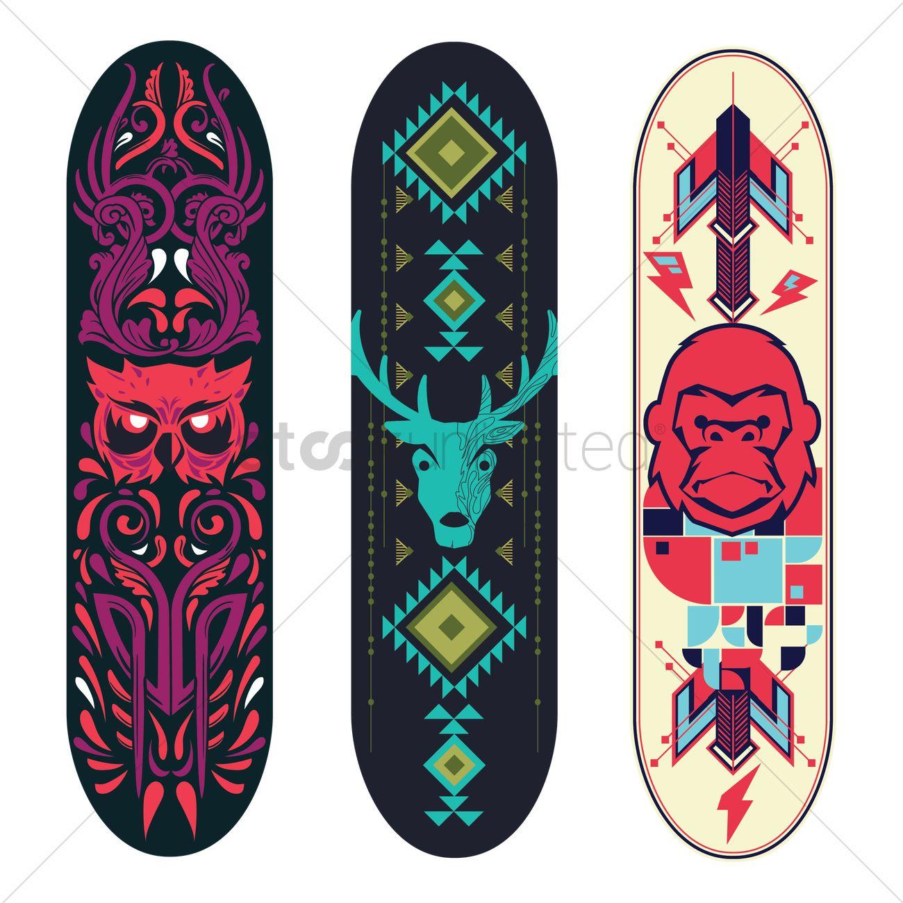 Collection of tribal animal designs on skateboard vector - Skateboard dessin ...